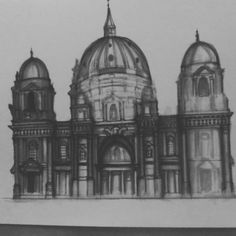 Adding details to draft of Berlin Cathedral Taj Mahal, Cathedral, Berlin, Sketch, Building, Instagram Posts, Travel, Art, Construction