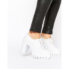 ASOS OVERBOARD Lace Up Shoes (76 SGD) ❤ liked on Polyvore featuring shoes, white, chunky shoes, laced up shoes, asos, platform shoes and white lace up shoes