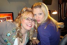 Behind the scene on set with Penelope and JJ (Kirsten Vangsness and AJ Cook).