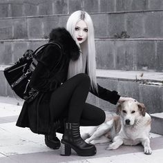 Petted and fed this baby. 🖤🐶 Full outfit by 🔥Link in bio! Gothic Girls, Hot Goth Girls, Dark Fashion, Gothic Fashion, Anastasia Model, Darkness Girl, Petty Girl, Cyberpunk Character, Cute Girl Dresses