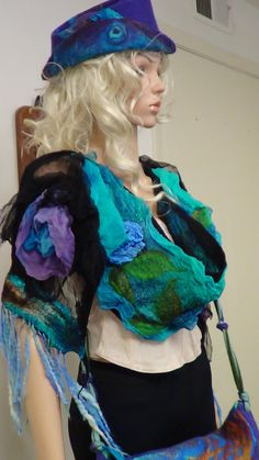 "ON SALE Romantic scarf, ""Courtesan"", New renaissance, felted scarf,Organic, Hand made, in USA, costume art, Vintage style, gypsy spirit, tru - $49.00 USD"