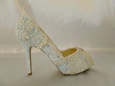 $295 … Something Blue Lace Wedding Shoes …4 inch heel and peep toes