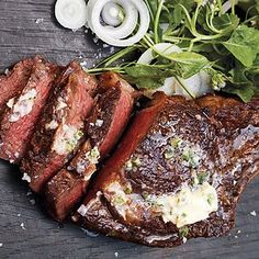 Don't go out for a great rib eye when you can make this meal, complete with veggies, in minutes. A little spicy horseradish cuts the richness of the steak. Wine Butter, Butter Sauce, Steak Dinners For Two, Balsamic Flank Steak, Prime Rib Roast, Braised Short Ribs, Beef Tenderloin, Steak Recipes, Grilling