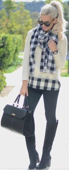 Plaid on Plaid - Mckenna Bleu | Madewell Sweater / Black Leggings / Plaid Scarf / Black Bag / Karen Walker Sunglasses / Timex Black Watch / Black boots / MAC Girl About Town Lipstick