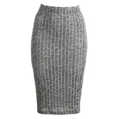 Ribbed Bodycon Pencil Skirt ($11) ❤ liked on Polyvore featuring skirts, calf length skirts, body con skirt, elastic skirt, bodycon midi skirt and ribbed pencil skirt
