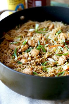 Pancit Recipe (Filipino dish) -- Sweet and savory Filipino Pancit Recipe with chicken & vegetables - stir fried in dark soy & oyster sauce. Yummy noodles ready in 25 minutes! Filipino Pancit, Filipino Food, Filipino Noodles, Filipino Pasta Recipe, Easy Filipino Recipes, Asian Recipes, Healthy Recipes, Ethnic Recipes, Vegetarian Recipes