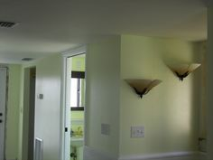2nd Floor Landing - New light fixtures; view into half bath, adjacent to living room & kitchen