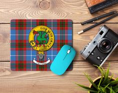 Rubber mousepad with Crichton Clan crest and tartan - only from ScotClans