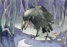 Crow overweegt de maan door daniellebarlowart op Etsy https://www.etsy.com/nl/listing/51432545/crow-overweegt-de-maan