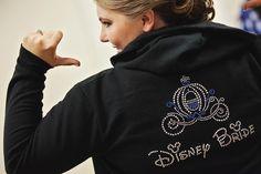 """Disney Bride"" rhinestone accented sweatshirt - perfect to wear on your special day #Disney #wedding #bride #sweatshirt"