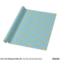 Shop Boy Cute Elephant Baby Shower Blue Wrapping Paper created by The_Enchanted_Aunt. Cute Baby Shower Ideas, Fun Baby Shower Games, Boy Baby Shower Themes, Baby Boy Shower, Baby Shower Decorations, Baby Shower Gifts, Elephant Baby Boy, Elephant Baby Showers, Cute Elephant