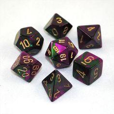 Set of 7 Chessex Gemini Green-Purple w/gold RPG Dice - RPG Tabletop Board Games