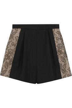 BUY IT! Lace:  Jason Wu|Lace-paneled high-waisted wool-blend shorts|NET-A-PORTER.COM