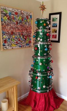 Drum kit Christmas Tree ~ what a great way to give this gift which would be truly tough to wrap!