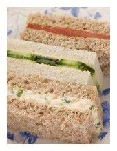 Tea sandwich recipes: Cucumber, Tomato, Smoked Salmon, Pepper Cheese, Crab, Pineapple Cream, Almond Chicken Salad, & Deviled Egg