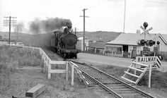 New South Wales Government Railways (NSWGR) steam locomotive 3266 on a down passenger train from Sydney to Kiama and or Nowra on the Princes Highway level crossing between Unanderra and Kembla Grange, N.S.W. Australia.