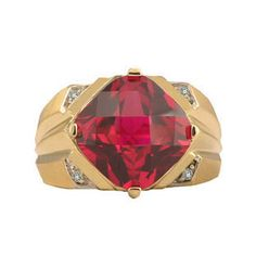 Large Diamond and Gold Mens Ruby Ring by gemologica on Etsy, $500.00
