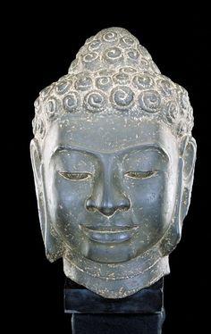 . Head of a Buddha |  Artist Unknown (Cambodia or Thailand, Asia), 8th century