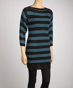 Take a look at this Brown & Teal Waffle Knit Sweater Dress by Lucca Couture on #zulily today!