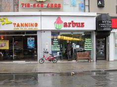 Shopfront Bench in front of Arbuz - 1706 Sheepshead Bay Road, Brooklyn, NY 11235 - Photo: Kevin Pacheco