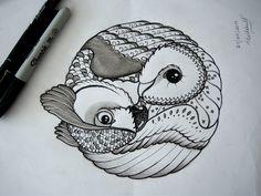 Owl Yin & Yang tattoo design by An Bidault http://www.facebook.com/anbidaultterra