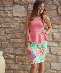 AMARA | Boutique, floral pencil skirt, pearls,