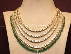 Emerald Drops 4 Line Polki Necklace