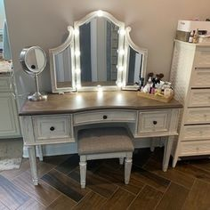 Bedroom Retreat, Dream Bedroom, Bedroom Decor, Design Bedroom, Bedroom Vanity Set, Master Bathroom, Master Bedrooms, Upholstered Stool, Big Girl Rooms