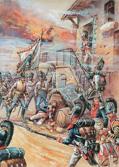 Scontro tra i fucilieri bavaresi del 3 reggimento (in rosso sul dipinto) e i fucilieri del reggimento austro-ungherese durante la campagna austriaca nel 1809 -  Patrice Courcelle & Jack Girbal