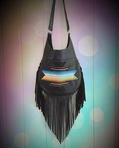 Leather Fringe Purse | Black Southwest Traveler Leather Fringe Bag Purse by nativerainbow