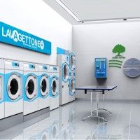 Coin laundry interior design – Lavagettone | Studio Sano Laundry Logo, Coin Laundry, Laundry Shop, Laundry Design, Laundry Closet, Laundry Rooms, Laundromat Business, Laundry Business, My Beautiful Laundrette
