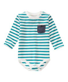 Look at this True Teal Stripe Bodysuit - Infant on #zulily today!