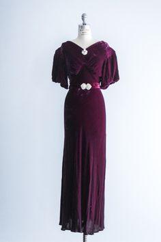 1930's Burgundy Silk Velvet Dress - Shop gossamer- beautiful online shop