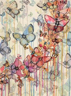 Butterflies - Cities of Dust 2012 Oil Vellum ink and Acrylic on Paper 56x76cm ♥♥