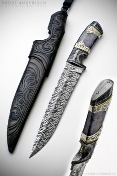 Blue Dream by Andre Andersson.  Blade: 5 bar damascus.  Bolster: Twist.  Handle: Stab. Fossil Walrus-bone. 925 Etched silver.    Sheath: Rawhide leathersheath.