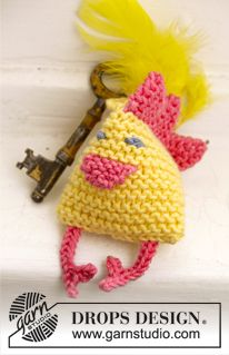 "DROPS Easter: Knitted Easter chicken in garter st in ""Cotton Merino"". ~ DROPS Design thanks so xox"