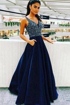RoyalBlue A-line Beading V Neck Satin Long Prom Dress, Graduation Party Dress P574 #everningdresses #Partydresses #weddingdresses #Promdresses #promgowns #Ombreprom #Formaldresses