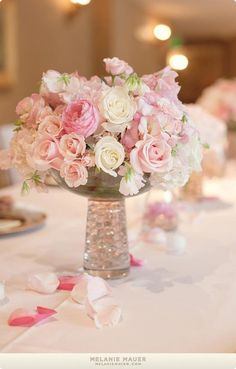White, blush pink, and pink peony centerpiece