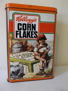 Vintage Tin Kelloggs cornflakes Frans Metal Box door Retromagination
