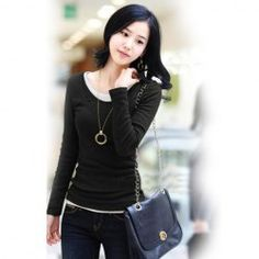 $11.70 Delicate Scoop Neck False Two Pieces Style Solid Color Long Sleeves Cotton Ployester Bottoming T-Shirt For Women