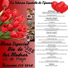 Menú Día de las Madres con la Mejor Gastronomía Española a sólo $388 más iva, no te lo pierdas