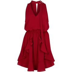 Finders Keepers Curtis Burgundy Mini Dress - Size L ($155) ❤ liked on Polyvore featuring dresses, vestidos, short red dress, open back dresses, ruffle dress, short dresses and red ruffle dress