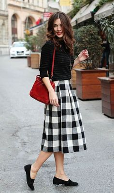 Blck Top and Checked Plated Skirt Style - DesignerzCentral