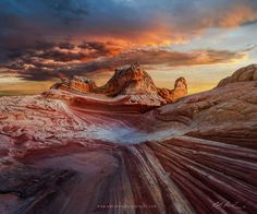 """Colorful Chaos - <a href=""""http://www.facebook.com/parchenphotography/"""">Facebook page for updates</a> <a href=""""http://www.parchenphotography.com/"""">Website for full portfolio</a>  Lots of theories exist on how this remote and twisted area of White Pocket Arizona formed though there is no definitive answer. Some of the theories range from soft-sediment deformation, Jurassic-period landslides, sand volcanoes...none of which mean much to me. My theory involves ancient ketchup swirled around with…"""
