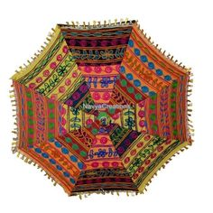 Indian Elegant Embroidered Cotton Umbrella Parasol For Special Christmas Gift #Handmade #Parasol