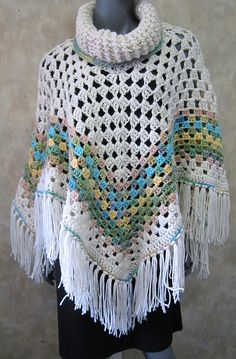 Ravelry: Project Gallery for Cowl Neck Poncho pattern by Simone Francis Crochet Cape, Crochet Poncho Patterns, Crochet Shirt, Crochet Cardigan, Crochet Scarves, Crochet Clothes, Knit Crochet, Crochet Vests, Shawl Patterns