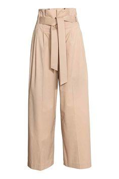 7ec2abfe9582 Pantalon large avec ceinture - Beige - FEMME