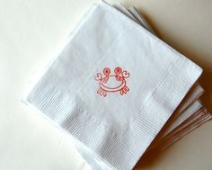 Crab beverage napkins / Set of 50 / Perfect for weddings, nautical baby showers or birthday parties White Napkins, Napkins Set, Birthday Fun, Birthday Parties, Birthday Ideas, Green And Brown, Red And Blue, Red Wagon Party, Crab Party