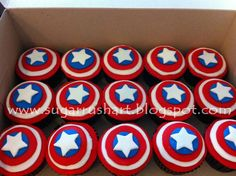 Captain America makes an appearance at a boy birthday party with cupcakes, decorations and a dessert table. Description from pinterest.com. I searched for this on bing.com/images