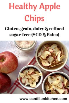 Apple chips with cinnamon and Himalayan sea salt - Vegan Vegetarian, Paleo, Specific Carbohydrate Diet, Apple Chips, Cinnamon Apples, Sugar Free, Snacks, Baking, Healthy
